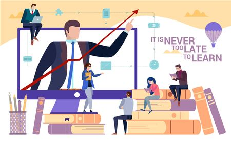 Concept flat illustration. Business education and skill improvement with a slogan It is Never Late to Learn. Presentation background with people reading and listening to lector Ilustrace