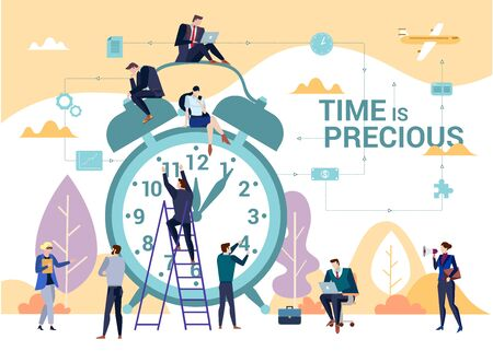 The importance of time in business concept flat vector illustration with people gathered around classic alarm clock. Task management and productivity theme with Time is Precious words.