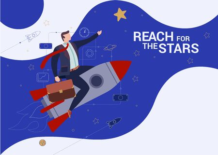Concept Flat illustration. Businessman with briefcase on the rocket. Reach for the stars word. Ilustração