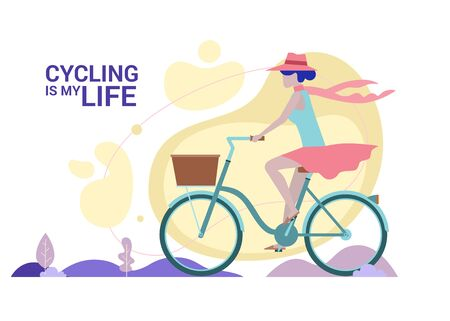 Concept Flat illustration. Woman enjoying cycling her green bicycle in summer, riding with high speed down the road in nature landscape or park. Cycling is my life words.