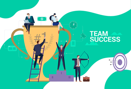 Concept Flat illustration. Business people team has a reward for the hard work. Team Success word.
