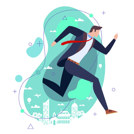 Businessman in a suit running against a green stylised city backdrop in a conceptual image of deadlines, ambition, competition, achievement, success, overwork or lateness Illustration