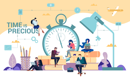 Time management, efficiency, productivity, deadlines, study and careers concept with diverse business people typing on laptops on stacked books on a desk in front of an alarm clock and lamp Illustration