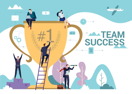 Business people team has a reward for the hard work concept. Team Success word.