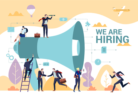 Business people shouting on megaphone with we are hiring word, flat style vector illustration concept. Illustration
