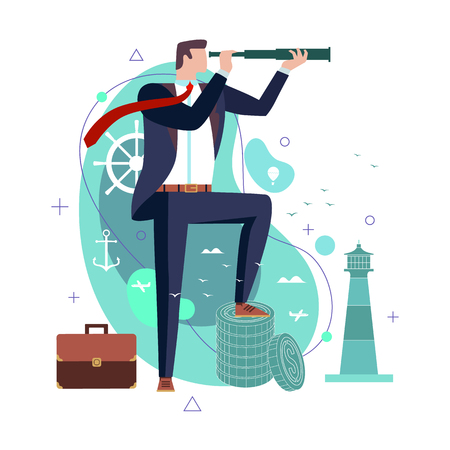 Businessman in a suit looks through a telescope a green stylised backdrop in a conceptual image of leadership and management