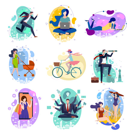 Set of nine drawings of people and activities with businessmen running, multitasking, looking through telescope and women with baby, riding a bicycle, shopping online, on summer vacation and studying