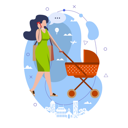 Young woman walking with a baby carriage and talk on the mobile a green stylised city backdrop Stok Fotoğraf - 122727595