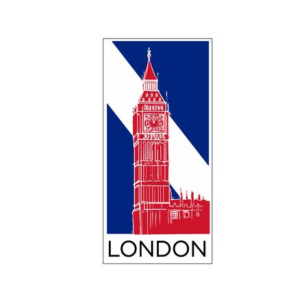 London logo poster or card design in national colors