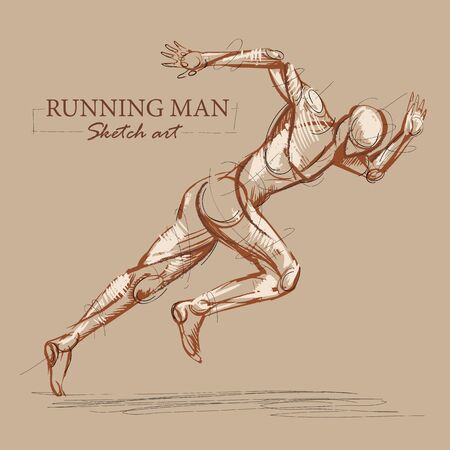 Brown toned modern stylised sketch of a running athletic man with a muscular body sprinting at speed leaning forwards into his stride, vector illustration