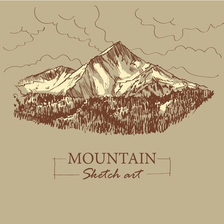 Brown toned modern stylized sketch of mountain, with forest and clouds, vector illustration. 矢量图像