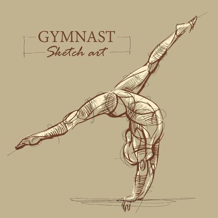 Brown toned modern stylized sketch of a curly gymnastics, acrobatics with a muscular body, vector illustration 矢量图像