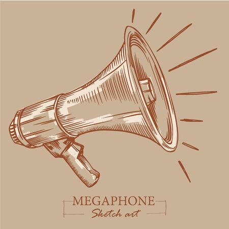 Brown toned modern stylized sketch of megaphone. Loudspeaker for announcements, bullhorn sketch news or public attention