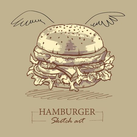 Sketch art of a veggie burger with all the trimmings and wings over on a neutral light brown background in a healthy diet concept. Vector illustration.