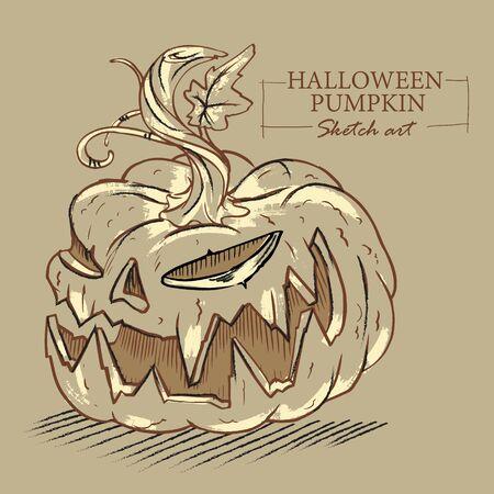 Halloween cartoon evil pumpkin sketch illustration on brown background. Vector illustration. Illusztráció