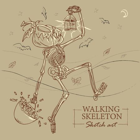 Walking skeleton sketch cartoon for Halloween with a pumpkin head, a pot of candies and old lamp in his hands. Grayish brown background with bats flying in the night.