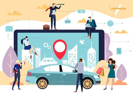 Concept of a car sharing in a city with a geolocation display on an app on a digital device and a car with men and women in the foreground in a colorful vector illustration flat style.