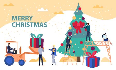 Engineering and developing business Christmas concept vector illustration, with people decorating a Christmas tree and delivering big gift boxes. Holiday poster on constructing and corporate theme