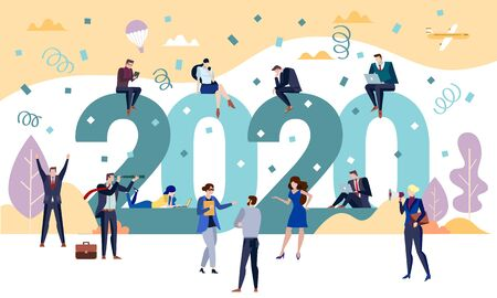 2020 New Year Business party concept with men and women celebrating the holiday season toasting the start of a new year with some sitting on the numerals of the date as colleagues gather below, vector Illustration