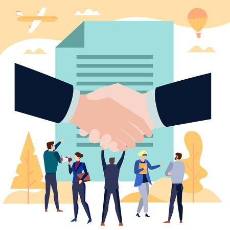Business team celebrating signing a contract. Vector illustration poster with handshake, text file and corporate people communicating Illustration