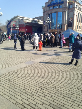 pancake week: pancake week celebration with many people in Maslenitsa