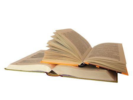 libros abiertos: Dos libros abiertos aislados en blanco