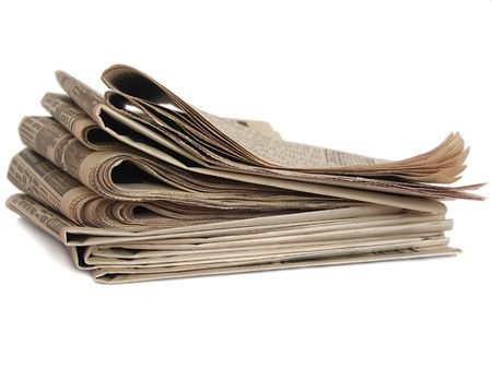 Non colored newspaper isolated on white