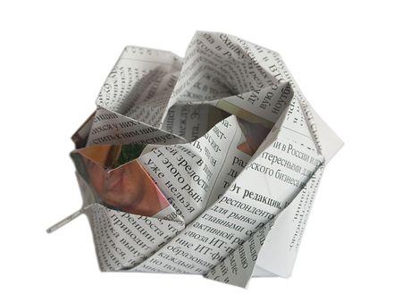 Nespaper origami figure isolated on white photo