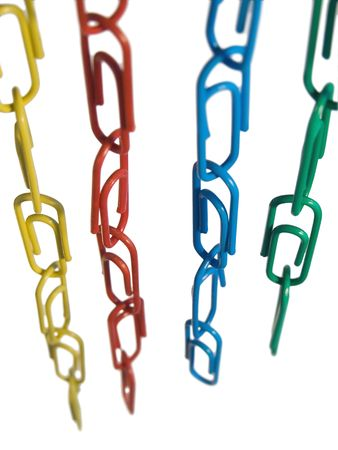 Color chains of paper clip isolated on white Stock Photo
