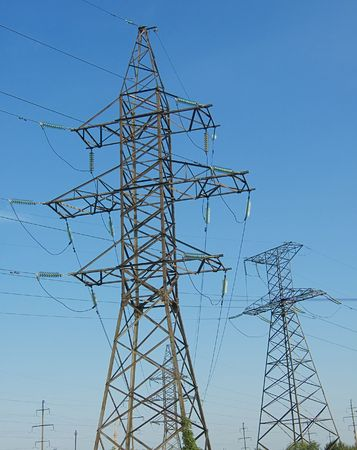 volts: High energy power line on sky background Stock Photo