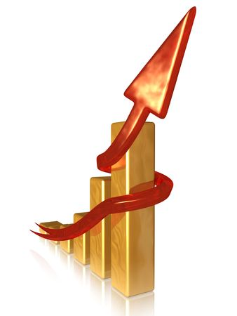 Golden chart with red arrow Stock Photo - 3772938