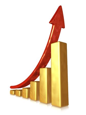 Golden chart with red arrow Stock Photo