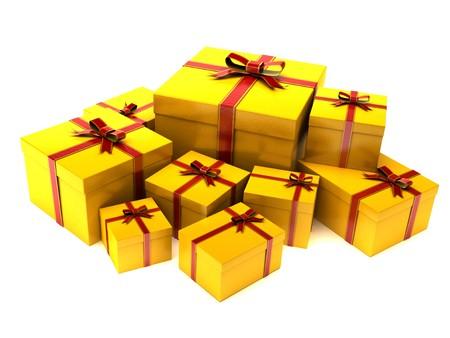 closed ribbon: Christmas gift boxes