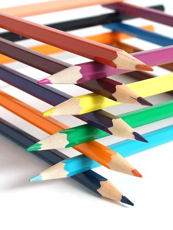 Assortment of colored pencils photo