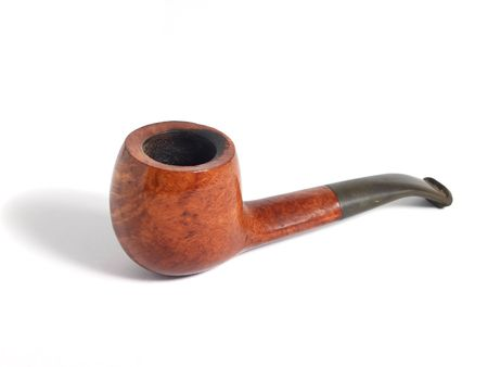 exhalation: Smoking pipe over white