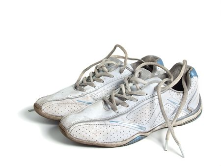 Old sport shoes over white
