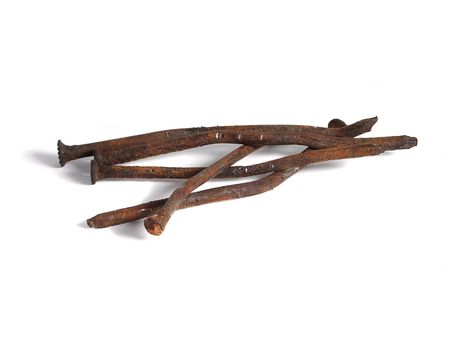 Rusty nails over white Stock Photo - 5542132