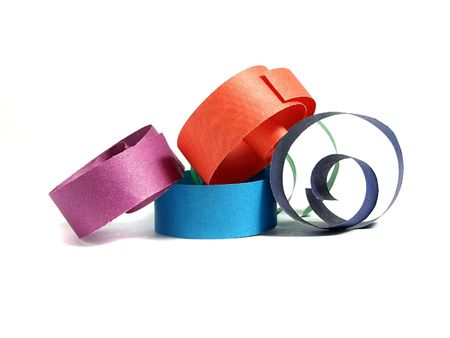 Colored paper ribbon over white photo