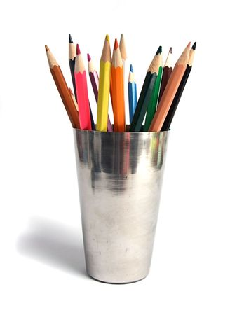 Colored pencil in steel cup Stock Photo