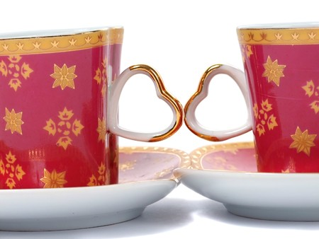 Heart coffee cup over white Stock Photo - 7549443