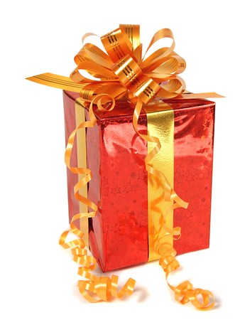 Red gift over white