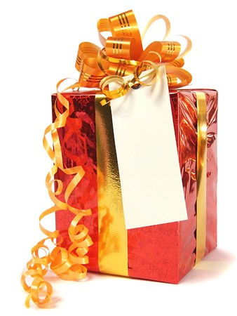 Red gift with blank tag over white  Stock Photo