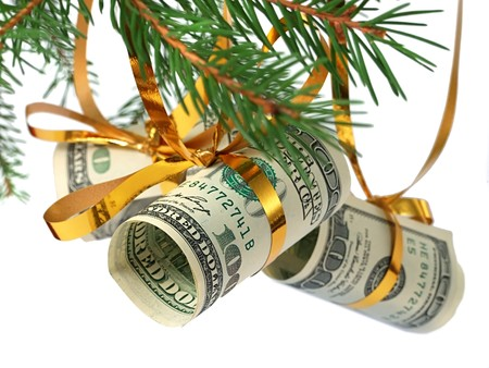 christmas savings: Dollars on christmas tree  Stock Photo