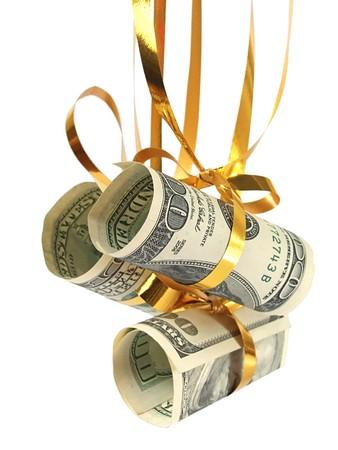 Dollars on christmas tree  Stock Photo