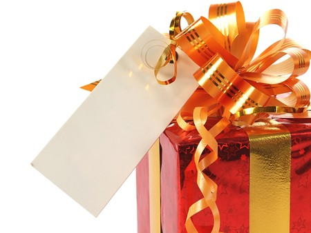 Red gift with blank tag over white  photo