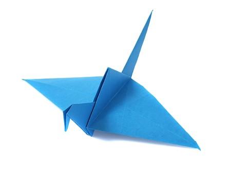 Origami crane over white Stock Photo - 7575173