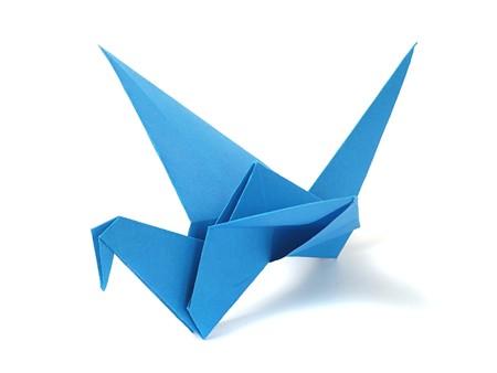 Origami crane over white Stock Photo