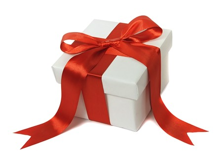 White gift with red bow  Stock Photo - 7555087
