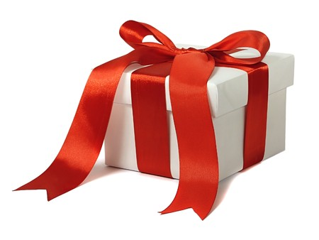 wrapped present: White gift with red bow