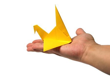 Origami crane in hand Stock Photo - 7575247